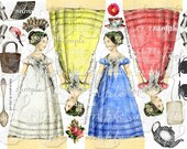 ART TEA LIFE Colorful Jane Collage Sheet  Scrapbooking altered art regency fashion paper doll clip art Digital File toppers tags party favor