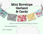 ART TEA LIFE Mini Envelopes Garland Banner Collage Sheet Digital File Clip Art Card Making Gift tags Invitations decoupage valentine tiny