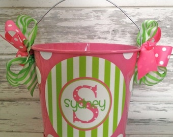 ON SALE personalized Preppy pink and green striped bucket