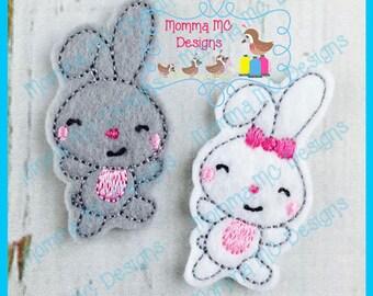 Dancing Bunny Feltie Machine Embroidery Design