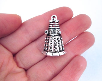 Doctor Who Dalek Pendant Charms, Silver Plated, Pick the Amount you Want to Purchase, G156