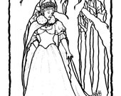 Downloadable coloring page Winter Queen fantasy art