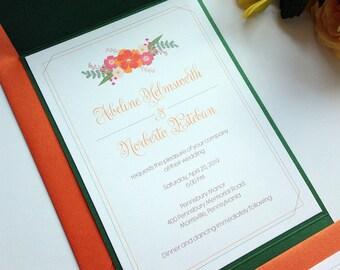 Spritely Florals Pocket Folder Wedding Invitation
