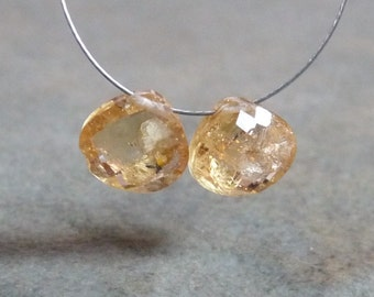 SALE - AA Yellow Imperial Topaz Faceted Heart Briolettes -8mm - 2 Beads - Matched Pair