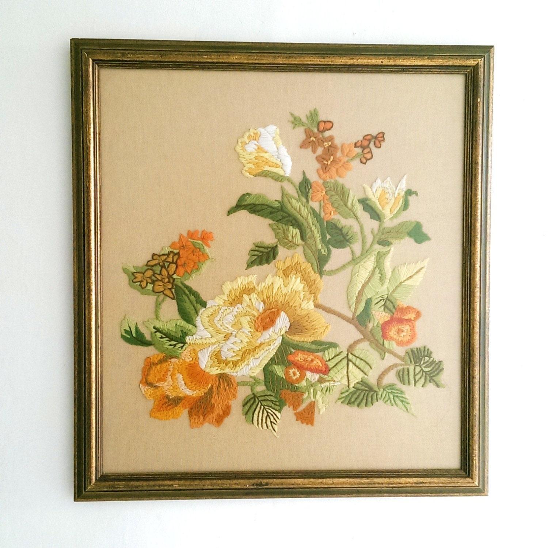 Large vintage framed floral crewel embroidery by
