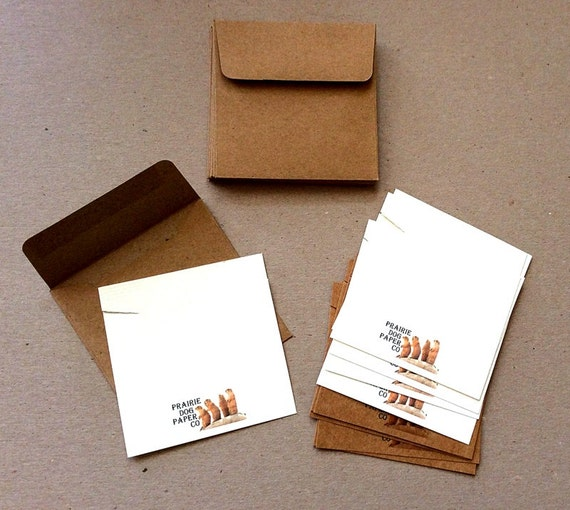 Personalized necklace cards with envelopes, 3 x 3 inch, set of 10