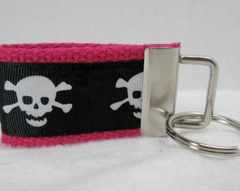 Skull Small Key Fob - Skull Zipper Pull - Skull Crossbone Mini Key Chain  - Bones Keychain - Crossbones Key Fob - PINK