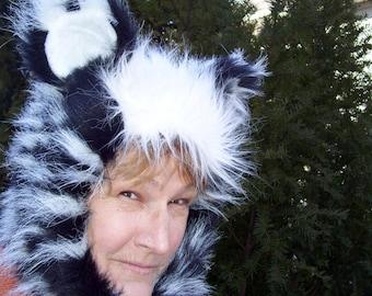 Skunk Fur Hat w Ears Furry Geek Costume Adult Hat Black White Hood Birthday Hat Gift Halloween Fur Hood Foxy OOAK Peppy Le Pew Hat