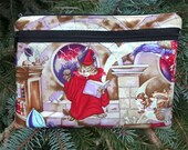 Cat large clutch, optional wristlet or shoulder strap, Knitting Notion Case, diabetic supply case, Wizard Cat, The Morning Glory
