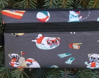 Pug mini wallet, purse organizer, wristlet, Pug's Day Off, Sweet Pea