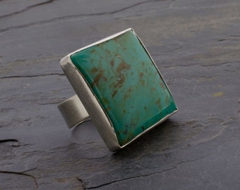 Cibola Square Ring - Turquoise Sterling Silver Statement Ring Size 7 3/4 or 8
