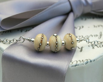 Lampwork bead Necklace - Sterling Silver chain - SALE