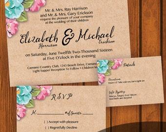 Vintage Wedding / Floral Wedding Suite / Blue / Pink  / Bohemian / Anniversary / Wedding / Invitation Suite / Vintage