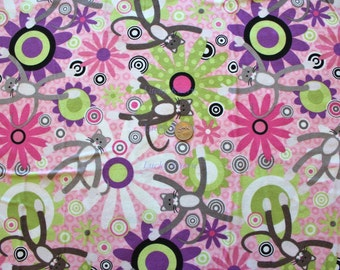 SALE Wendy Slotboom XOXOXO The Cat, Large Cats Pink FLANNEL Fabric - 1 Yard