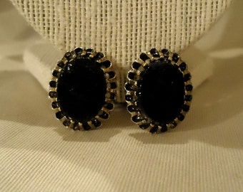 Clip On Earrings Black Stone Like Cabochon Centers Silver Metal Details Clips Oval Shaped Vintage 1970's Costume Jewelry Accessories