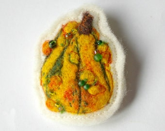 Warty Gourd Brooch : Needle Felted Wool & Silk Handmade Pin (Wearable Squash for Fall)