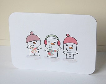 Snowmen Note Cards, Blank Note Cards Set, Christmas Cards, Winter Cards, Snowman Cards, Holiday Note Cards, Thank You Cards, Greeting Cards