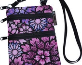Ella Bella Purse - Cross body Purse - 3 Zippered Pocket - Adjustable Strap - Washable - FAST SHIPPING - Cell Phone Purse - Purple Passion