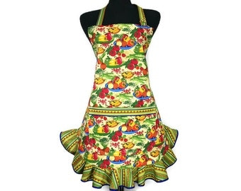 Vegetable Apron for women with Retro Style Ruffle, Southwestern Kitchen Decor
