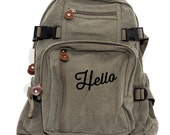 Backpack - Canvas Backpack - Script - Travel Backpack - Backpack Women - Rucksack - Diaper Bag Backpack - Small Backpack - School Backpack