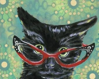 "6x6 inch Archival Print on Wood  ""Cat Eye Cat #2"""