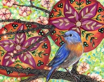 "6x6 inch Archival Print on Wood  ""Eastern Bluebird #3"""