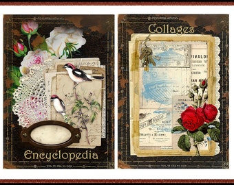 Set of 10 Vintage Encyclopedia Collages in 2 Sizes Digital Printable INSTANT DOWNLOAD