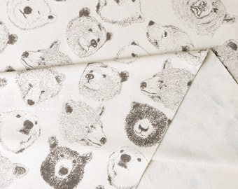 Japanese Fabric Kokka Trefle Bears knit - cream - 50cm