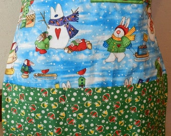 Holiday Apron with bunnies and snowmen half Apron Reversible with pockets on both sides. Great gift Under 20
