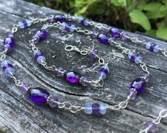Amethyst and Chalcedony Gemstone Necklace, Sterling Silver, 20 Inch Long, Wire Wrap, Handmade Jewelry, Blue and Purple, Genuine Gemstone