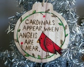 Cardinal BIRD ornament Christmas ornament Wood burned wall hanging plaque holidays remembrance bereavement