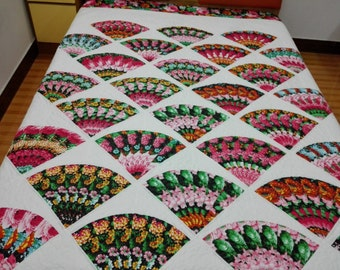 Queen size Machine pieced and quilted patchwork Quilt #69