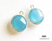 2 pcs 10mm Sterling Silver Bezel Blue Chalcedony Gemstone Wrap Charm F383S