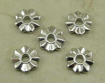5 TierraCast 8 Point Florette Large Hole Spacer Beads > Daisy Flower Star Rivetable Rhodium Plated Lead Free Pewter Ship International 5794