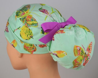 The Perfect Fit Ponytail Scrub Hat Original Design Best Fit Ever Pony Pouch- Butterfly Garden