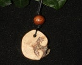 Avalon Scots Pine Wood Pendant - guidance & direction - Pagan, Wicca, Witchcraft
