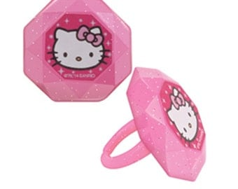 24 Hello Kitty Cupcake Ring Toppers/Favors! NEW! Birthday Supplies