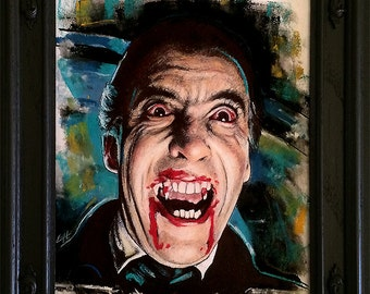 Dracula - Original Drawing - Christopher Lee Horror Dark Art Vampire Peter Cushing Gothic Halloween Classic Monster Blood British Lowbrow