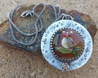 Lampwork Glass & Sterling Owl Necklace