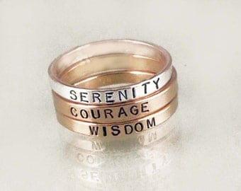 Mixed Metals Serenity Prayer Stacking Set by donnaodesigns