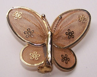Brooch Butterfly Net Wings Vintage