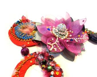 Summer in the middle of the Winter,  Mixed-media Floral Collection, One of a kind Couture Rhinestone Necklace by Monikque