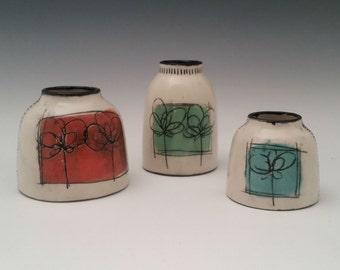 Chubster Mini Trio Bud Vase, Ceramic Vase, Modern Pottery Vase, Small Chunky Vase with Minimalist Design