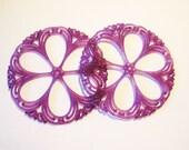 Vintage Deep Red Violet  Filigree Rounds(Pr) b3000