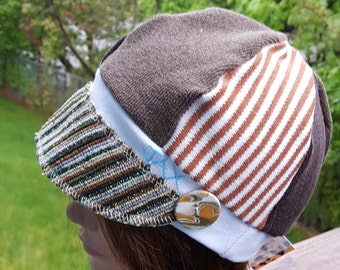 Small medium Jax Hats, Brown and rust sweater hat, upcycled hat, recycled clothing hat, chemo hat, newsboy cap, flapper, seafoam & brown hat
