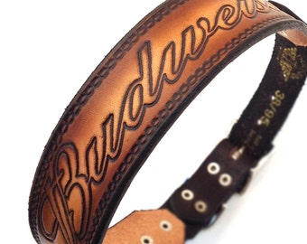 Leather Dog Collar, Large Dog Collar, Leather Collar Dog with Bud Beer Brand Stamping, Size L to fit a 18-21 Neck, Handmade from Seattle