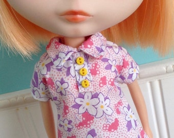 Blythe Dress - The Twiggy in Pink Floral Feedsack