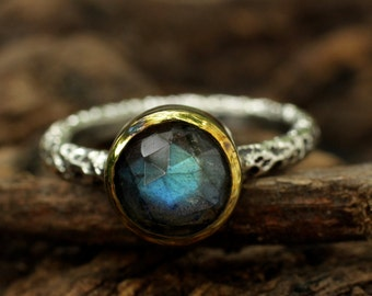 Sterling silver ring with faceted labradorite gemstone heavily textured and oxidized silver band/TP
