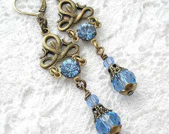 Light Sapphire Vintage Style Glass and Brass Dangle Drop Earrings
