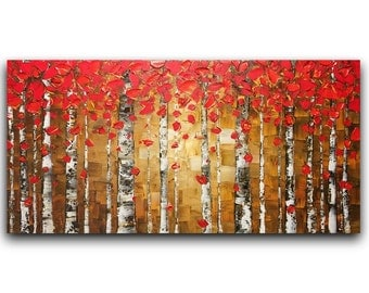 Original Oil Painting Landscape Abstract Art Red Birch Tree  Aspen Impasto Palette Knife Painting Modern Artwork by Susanna 48x24